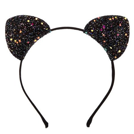 Claire's Black Glitter Cat Ears Headband   Ear headbands, Glitter cat ears, Cat ears headband