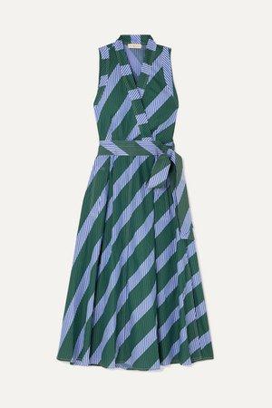 Striped Cotton-poplin Wrap Dress - Blue