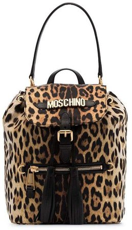 black and brown logo leopard print leather backpack