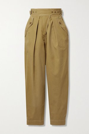 Dune Cotton-twill Tapered Pants - Beige