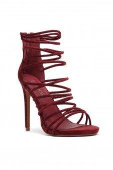 Women's Lenavia: Stiletto heel, strappy, peep toe in Burgundy