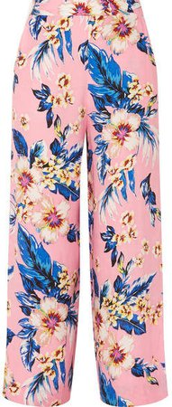 Floral-print Twill Wide-leg Pants - Baby pink