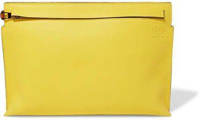 T Two-tone Leather Pouch - Yellow