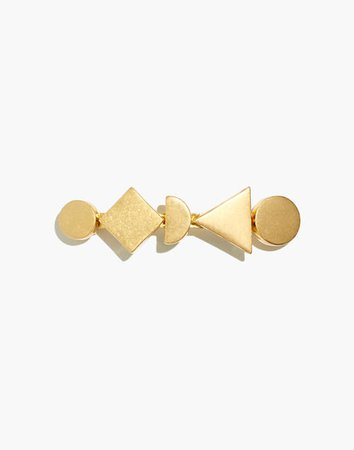 Gold-Plated Geometric Stack Barrette