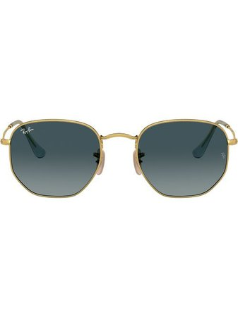 Shop gold Ray-Ban RB3548N hexagonal sunglasses with Express Delivery - Farfetch