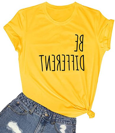 Amazon.com: LOOKFACE T Shirts Women Cute Graphic Funny Cotton Short Sleeve Shirts Tees Yellow Small: Clothing
