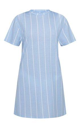 PASTEL BLUE STRIPE PRINT T SHIRT DRESS