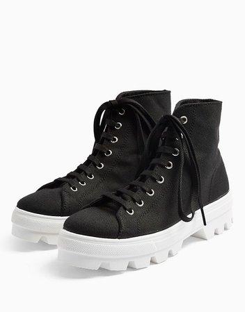 Topshop canvas high top sneakers in black   ASOS