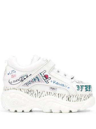 Buffalo Graffiti Print Platform Sneakers Ss20 | Farfetch.com
