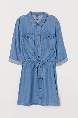 Lyocell Shirt Dress - Blue