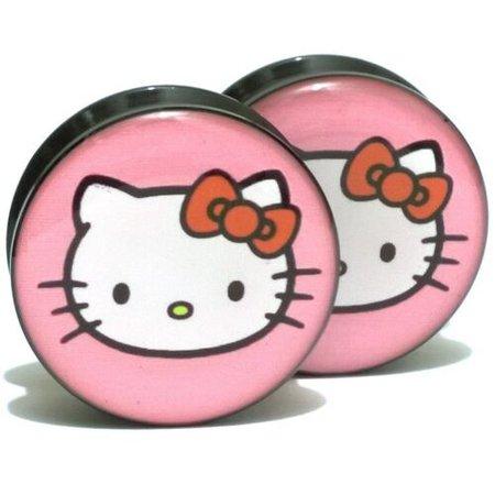 Pair Acrylic Ear Plugs Screw Fit Gauges Flesh Tunnels Earrings Pink Hello Kitty | eBay