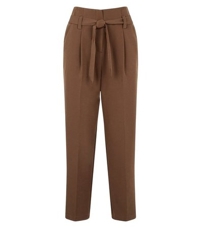 Brown Belted High Waist Trousers | New Look