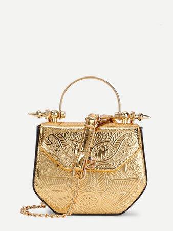 Metallic PU Chain Crossbody Bag