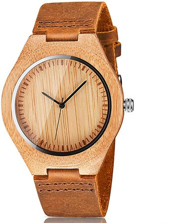 Amazon.com: CUCOL Men's Bamboo Wooden Watch with Brown Cowhide Leather Strap Japanese Quartz Movement Casual Watches: Watches