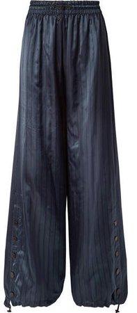 Snap-embellished Pinstriped Satin Wide-leg Pants - Navy