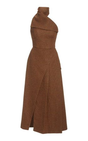 Plaid Wool Midi Halter Dress By Brandon Maxwell
