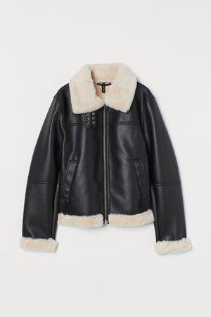 Faux fur-lined jacket - Black - Ladies | H&M