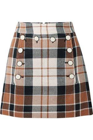 Veronica Beard | Ording button-detailed checked cotton and flax-blend mini skirt | NET-A-PORTER.COM