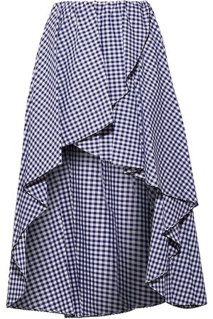 Navy Adelle ruffled gingham cotton-poplin skirt   Sale up to 70% off   THE OUTNET   CAROLINE CONSTAS   THE OUTNET