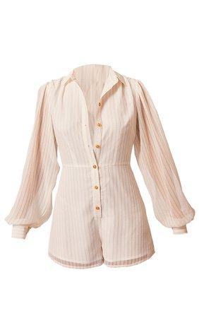 Stone Stripe Balloon Sleeve Shirt Playsuit | PrettyLittleThing USA