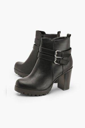 Double Buckle Block Heel Chelsea Boots   Boohoo