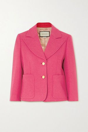 Pink Cropped wool-blend tweed blazer | Gucci | NET-A-PORTER