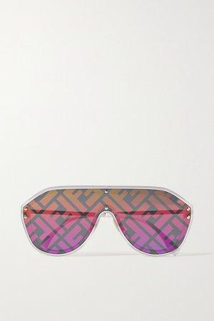 Silver Oversized aviator-style silver-tone and acetate mirrored sunglasses | Fendi | NET-A-PORTER