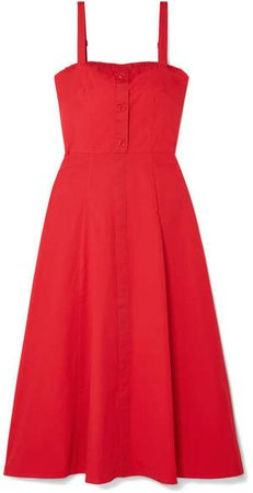 STAUD - Penny Cotton-blend Poplin Midi Dress - Red