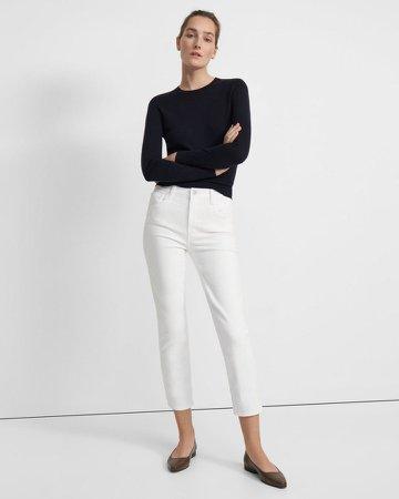 Alma High-Rise Straight Leg Jean in Stretch Denim