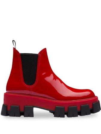 Red Prada Moonlight Patent Leather Booties | Farfetch.com