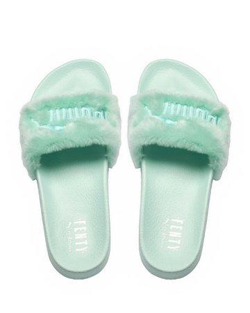 Fenty Puma by Rihanna Faux-Fur Pool mint green Slide Sandal, Light Green | Neiman Marcus