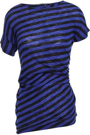 Ruched Striped Slub Cotton-jersey T-shirt