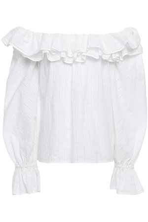 White Kotor off-the-shoulder ruffled cotton-broadcloth blouse | Sale up to 70% off | THE OUTNET | MERLETTE | THE OUTNET