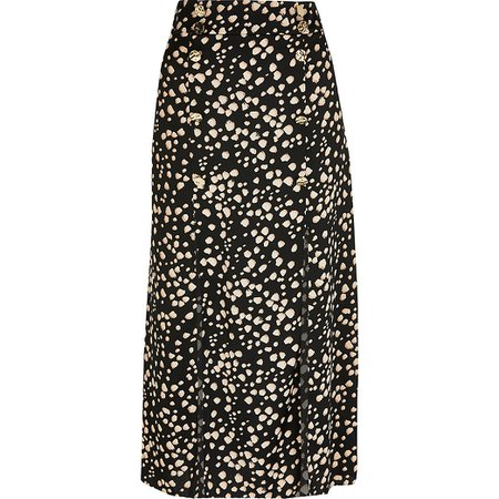 Black printed button front split midi skirt | River Island