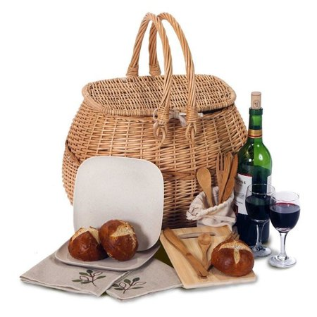 picnic basket, wine, and bread