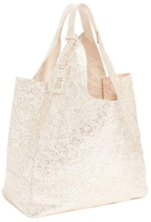 WtR - Gazania Metallic Cream Leather Tote Bag