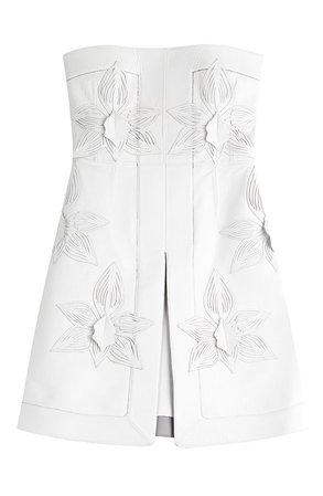 FENDI Strapless Leather Dress With Floral Embellishment