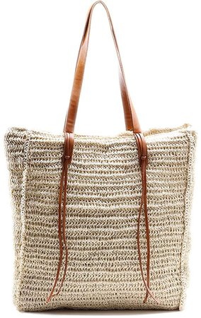Beach Bags for Women By Miss Fong, Straw Bag, Beach Tote Bag, Straw Beach Bag with Inner Zipper Pocket and Leather Handle