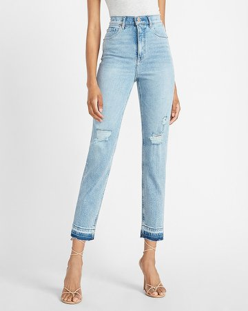 Super High Waisted Ripped Released Hem Straight Jeans