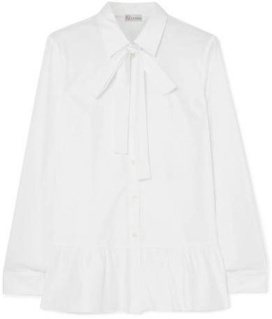 Tie-neck Ruffled Cotton-blend Poplin Shirt - White