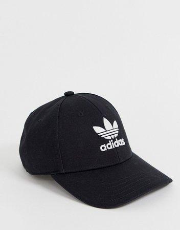 adidas Originals trefoil logo cap in black | ASOS