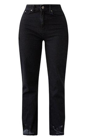Plt Shape Black Distressed Hem Straight Leg Jeans | PrettyLittleThing