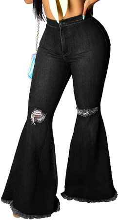 Skinny Ripped Bell Bottom Jeans for Women Classic High Waisted Flared Jean Pants (Large, Blue-2229) at Amazon Women's Jeans store