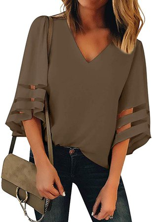 LookbookStore Women's V Neck Mesh Panel Blouse 3/4 Bell Sleeve Loose Top Shirt at Amazon Women's Clothing store