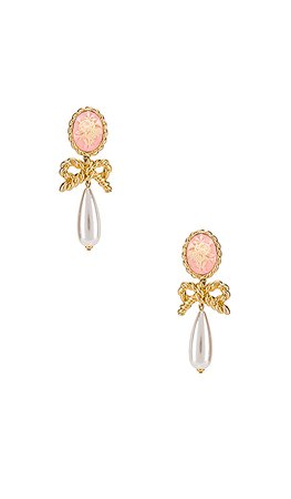 For Love & Lemons Cameo Pearl Drop Earrings in Vintage Gold | REVOLVE