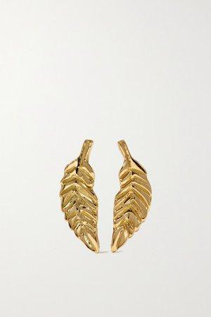 Brooke Gregson | Leaf 18-karat gold earrings | NET-A-PORTER.COM