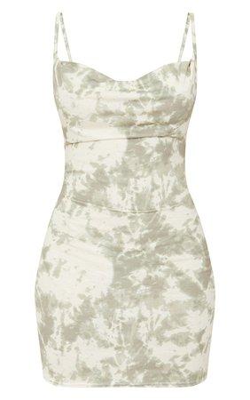 Green Tie Dye Cowl Neck Strappy Bodycon Dress | PrettyLittleThing USA