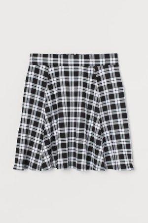 Skater skirt - Black/White checked - | H&M GB