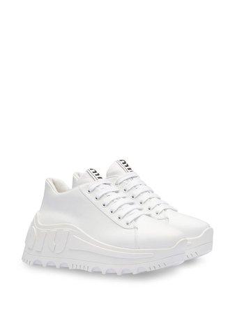Miu Miu Platform Low-Top Sneakers 5E758CF0853AQN White | Farfetch