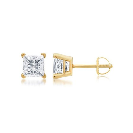 V.I.P. - 1/2 Carat T.W. Genuine Round White Diamond 14kt White Gold Stud Earrings, IGL Certified - Walmart.com - Walmart.com